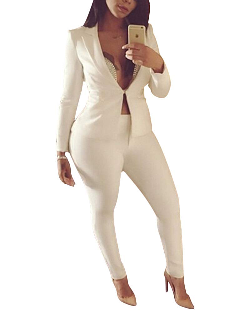 20 Pieces Womens 2 Piece Outfits Blazer With Casual Suit Sets Harem Pants  Cargo Pants  Overalls