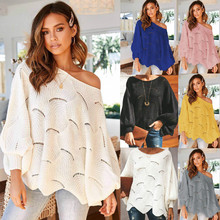 Winter Fall 2019 Womens Oversized Lantern Slash Neck Pullover Sweaters Plus Size Casual Pull Sweter Kawaii Korean Femme Pulover pulover galvanni pulover