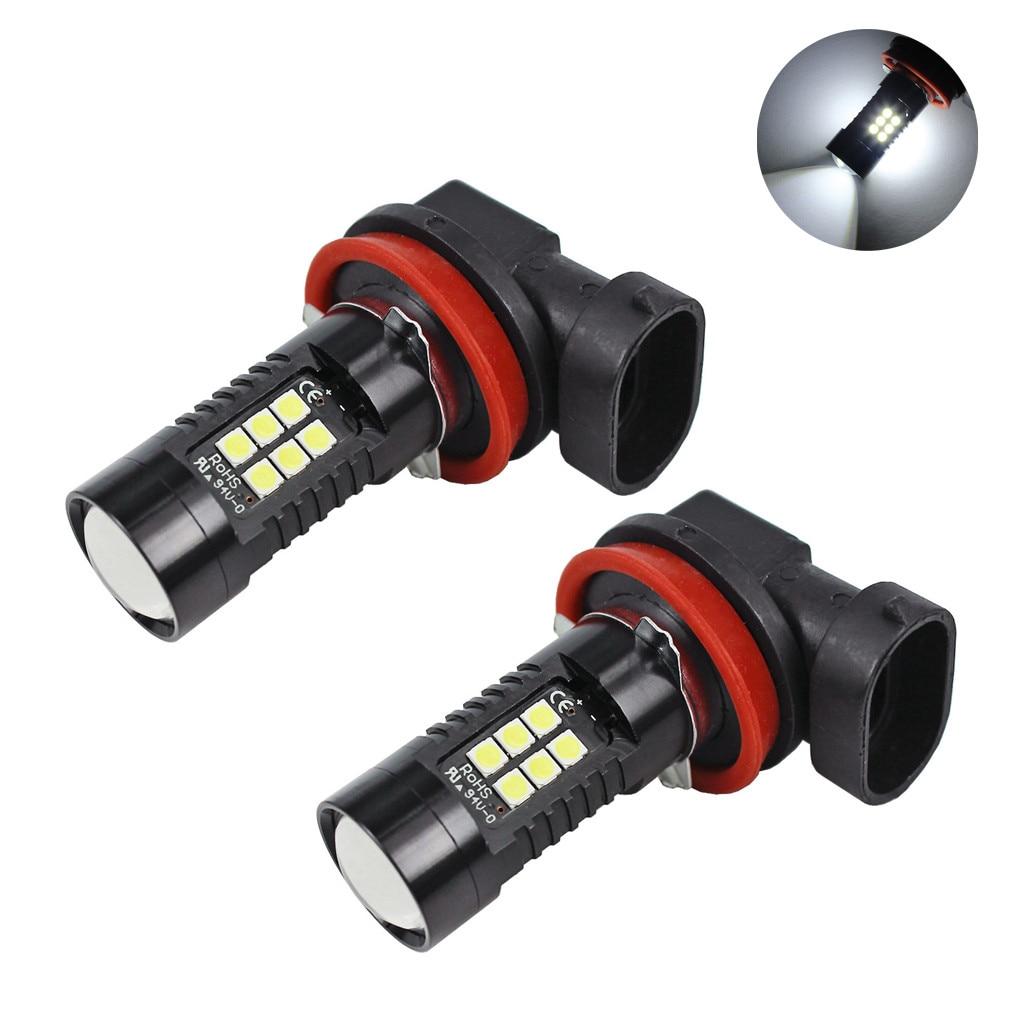 kongyide car light 2Pcs 12V DC H11 3030 21 LED Lights White 6500K Car Fog Head Light Lamp Headlight daytime running light DRL