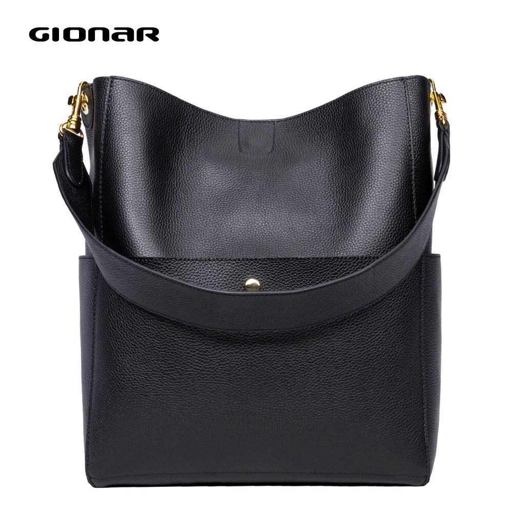 GIONAR RFID Weich Echte echtem Leder Eimer Tote Tasche Frauen Designer Zwei Sets Geldbörse Handtasche Weiche Leder Große Schulter Taschen