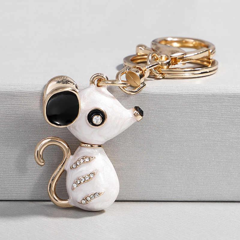 Cristal hermoso ratón llavero strass Metal llavero colgante para bolso Animal llaveros encanto joyería para mujeres