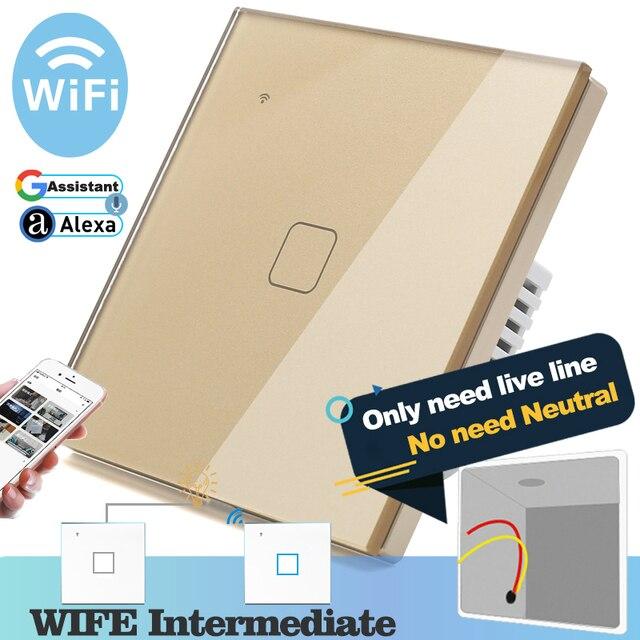 (Не нужен нейтральный) Wi Fi сенсорный светильник енный выключатель, Золотой стеклянный синий светодиодный умный дом, управление телефоном, 1 комплект, 2 канала, Alexa Google Home
