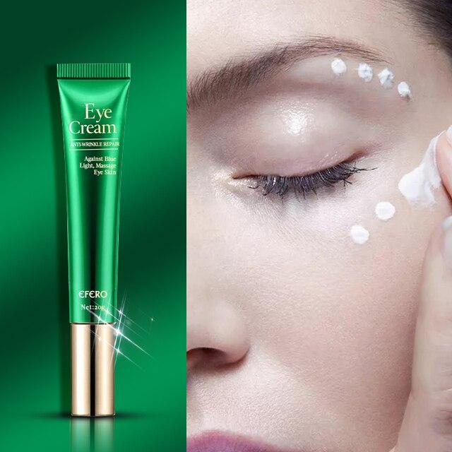 Crema de ojos antienvejecimiento con péptido de colágeno, antiarrugas, elimina las ojeras, esencia de caracol, hidrata la Reparación de la piel seca, líneas finas de ojos