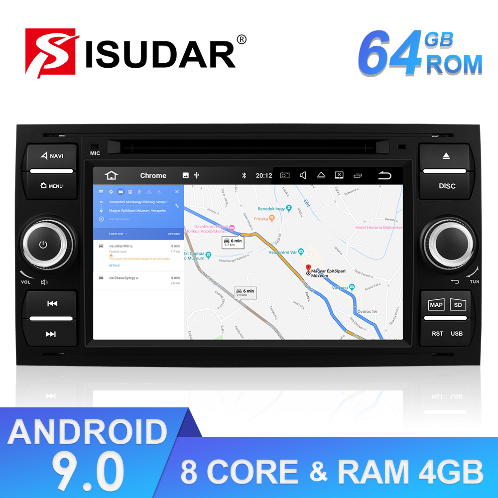 Isudar 2 Din Android 9 Stereo Auto Radio For <font><b>Ford</b></font>/<font><b>Focus</b></font>/Mondeo/Kuga Car Multimedia Player <font><b>GPS</b></font> Octa Core RAM 4GB ROM 64GB USB DVR image