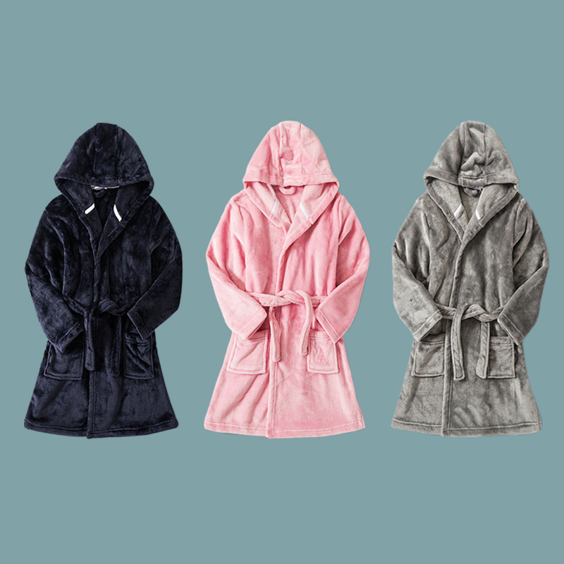Kids Pajamas Bathrobe for Boys Girls Sleepwear Robe Soft Flannel Hooded Bathgown Winter Warm Nightwear Solid Color Baby Clothes 2