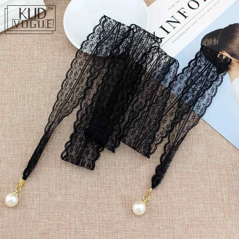 Damski pasek długa, z podkreśloną talią pas koronkowy pusty pas cienki perłowy pas liny do sukni Tassel w pasie węzeł ozdobiony wąską wstążką czarny
