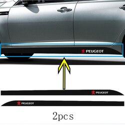 2pcs Cintura para um Lado De Fibra De Carbono Adesivos Logotipo Auto Decalque Emblema Do Carro para Peugeot 107 108 206 207 208 301 308 307 407 408 508 607