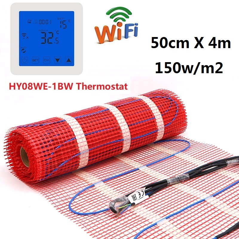 Высокое качество 2m2 150w/m2 Электрический напольный нагревательный коврик наборы 50cmX4m 220V теплый коврик с термостатом