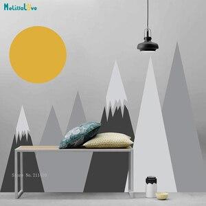Пользовательские 4 вида цветов настенные стикеры в скандинавском стиле виниловые наклейки на горы и солнце для детской комнаты Съемные Фре...