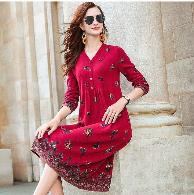 ZUOMAN New red wool knitting dress female autumn/winter 2020 v is gotten loose long hair dress knee-length dress 1