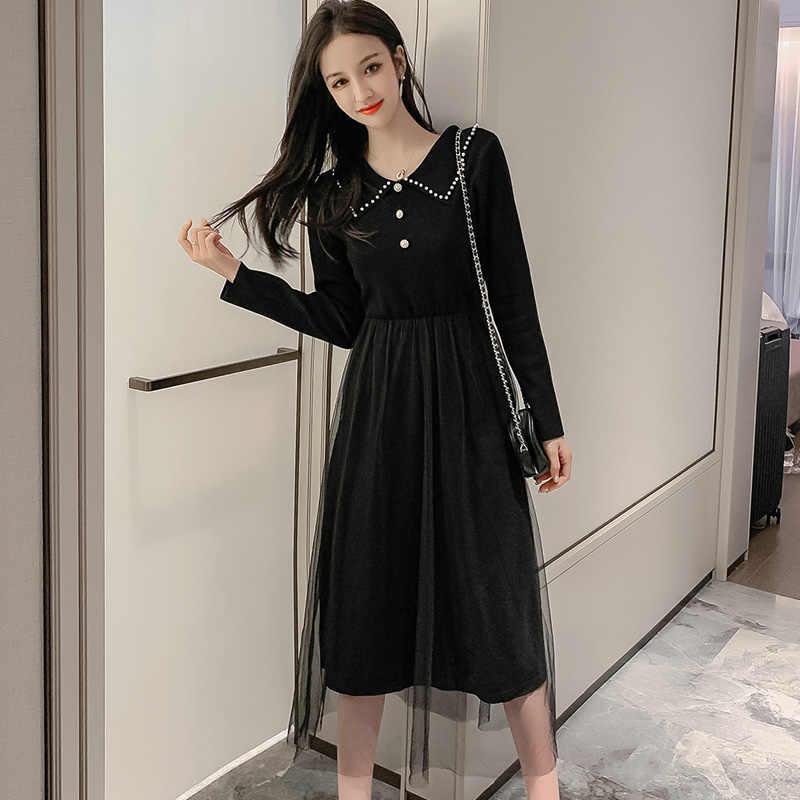 Модное повседневное элегантное пэчворк с высокой талией отложной воротник с длинным рукавом Vestido зима новое 2019 платье Осень женское Mujer