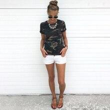 Fashion Camouflage Tee Shirt Women Printed Tops Short Sleeves Female Tshirt Military Uniform Casual Top Tees Clothing