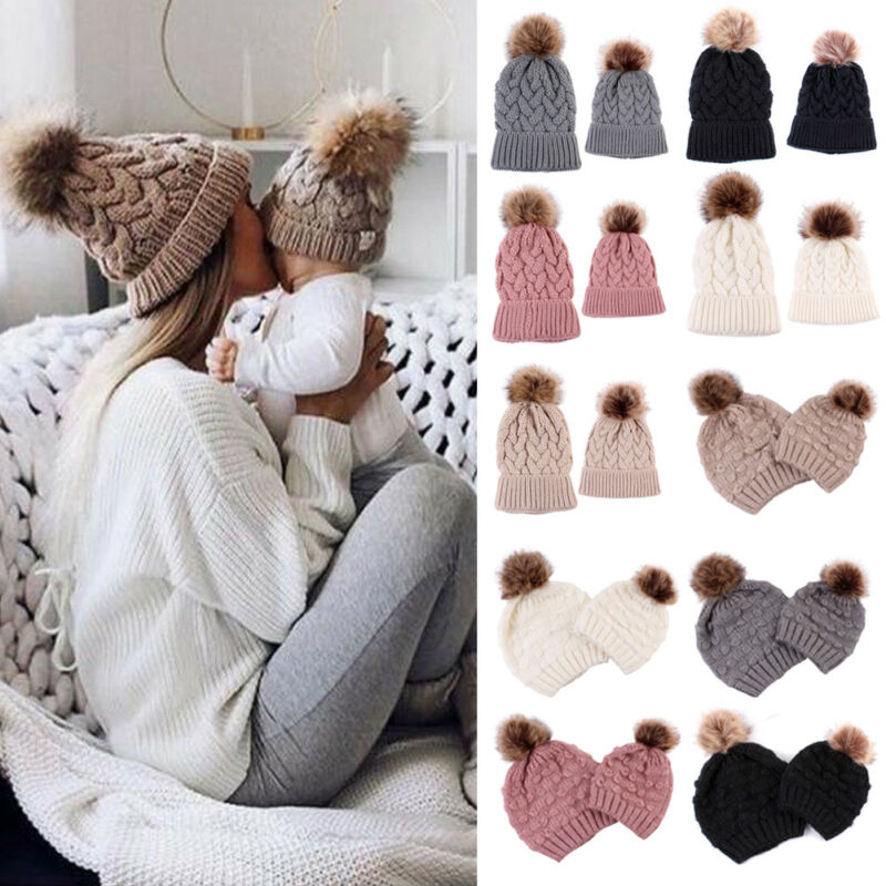 Infant Baby Boy Girl & Mom Winter Knit Warm Soft Beanie Hat Hairball Cap for Adult Children Family Matching Caps Hats