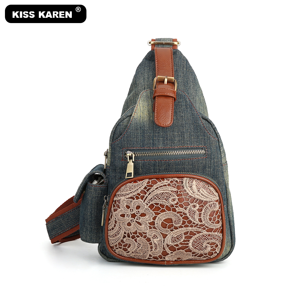 All New 2020 Jeans Chest Bag Vintage Lace Purse Women Sling Bag Casual Fashion Day-pack Travel Cross-body Bags Retro Denim Color