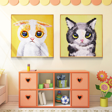 100% Hand Painted Cartoon Baby Cats Art Painting On Canvas Wall Adornment Pictures For Live Room Home Decor
