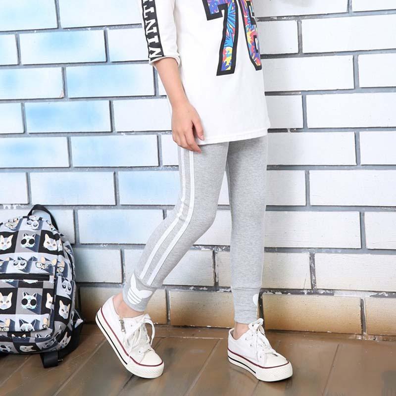 Spring autumn cotton girls leggings  vertical stripe toddler kids sport pants 3-12Years 2