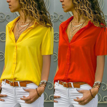2021 Summer New Women Solid Color Single-Breasted Blouse Office Lady Turn Down Collar Short-Sleeved Shirt Femme Blusas Oversized 1