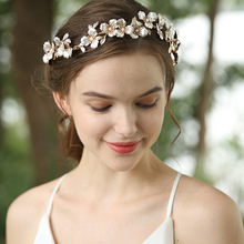 Boho Gold Floral Wedding Headband Bridal Hair Crown Leaf Headpiece Hand wired Women Hair Tiara Accessories