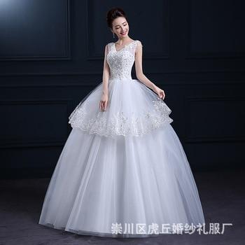 2019 Summer Vestidos De Novia Real Photo White Lace V-neck Sequins Wedding Dresses Cheap Princess Bride Gowns Frock