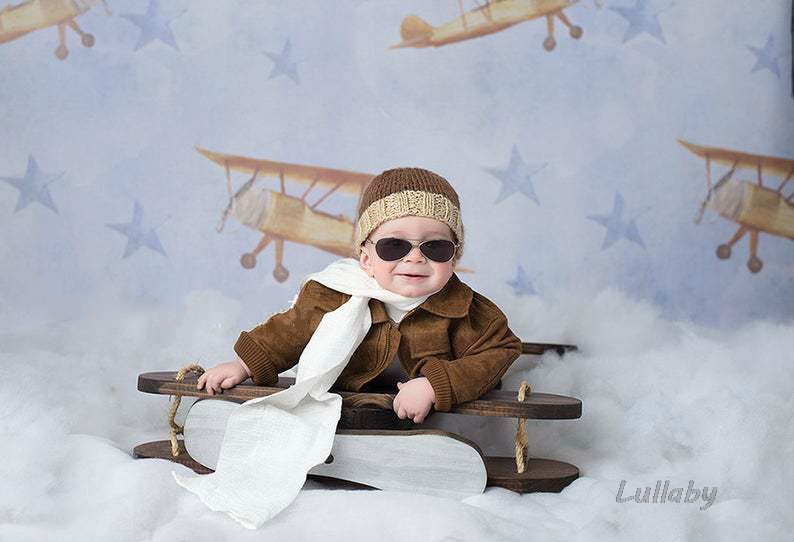 Baby Photography Props Posing Props Mini Wooden Plane Baby Shoot Accessories Retro Plane The Hundred Day Photo Creative Props