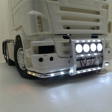 Front Bumper with 22 Lights For Tamiya 1:14 Scania Series Tractor 620 56323 730 Front Bumper RC Truck Parts