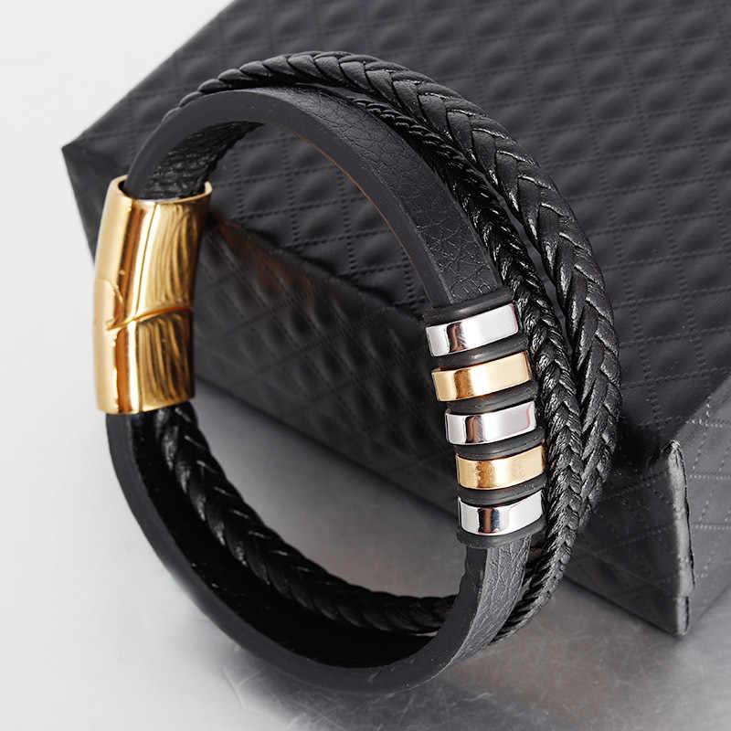 AZIZ BEKKAOUI moda skórzana bransoletka ze stali nierdzewnej skórzane tkane modne bransoletki skóra wielowarstwowa biżuteria dla mężczyzn