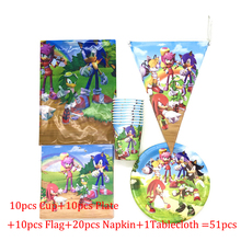 51 pcs/lot Sonic the Hedgehog Party Supplies Kids Birthday Tableware Cups Plates Napkins Flags Tablecloth Disposable Decorations