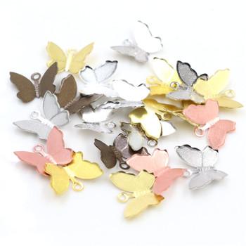 100 sztuk 11mm x 13mm Metal miedź motyl filigranowy okłady złącza urok DIY biżuteria akcesoria ustalenia materiały do biżuterii tanie i dobre opinie Wadsfred Miedzi lead free and nickel free