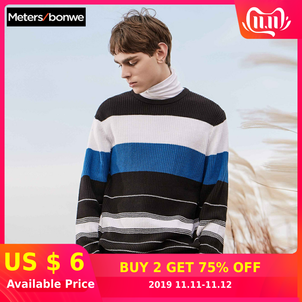 Metersbonwe Sweater Men 2019 Autumn Fashion Long Sleeve Knitted Men Cotton Sweater High Quality Clothes
