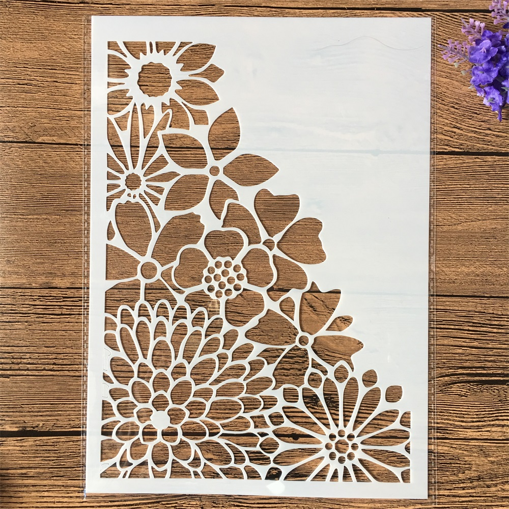 1Pcs A4 Half Chrysanthemum Flower DIY Layering Stencils Wall Painting Scrapbook Coloring Embossing Album Decorative Template