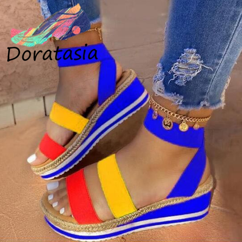 DORATASIA Unique Summer Med Wedges Shoes 2020 Summer Comfy Flat Platform Sandals Women Ins Hot Bright Colors Sandals