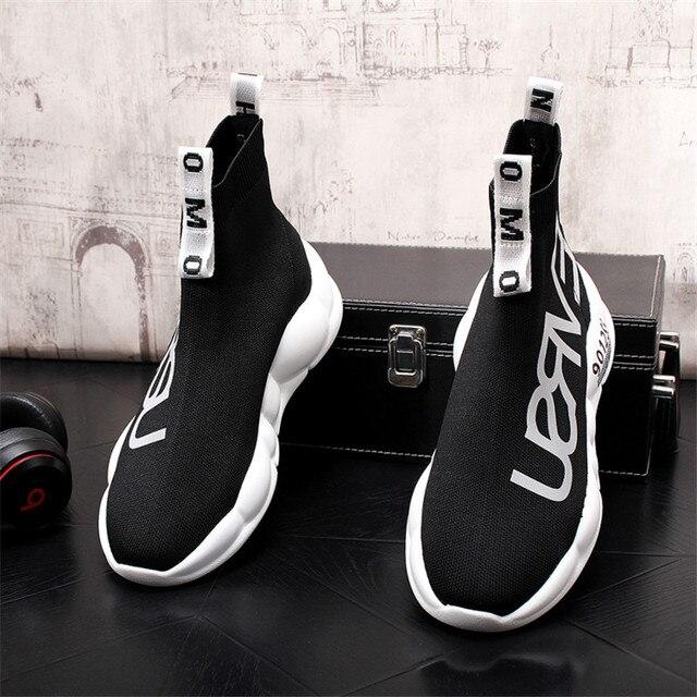 Zapatos de calcetín de diseñador de lujo para Hombre, Zapatillas de plataforma informales de punto de Zapatillas Hip Hop, Botines altos 4