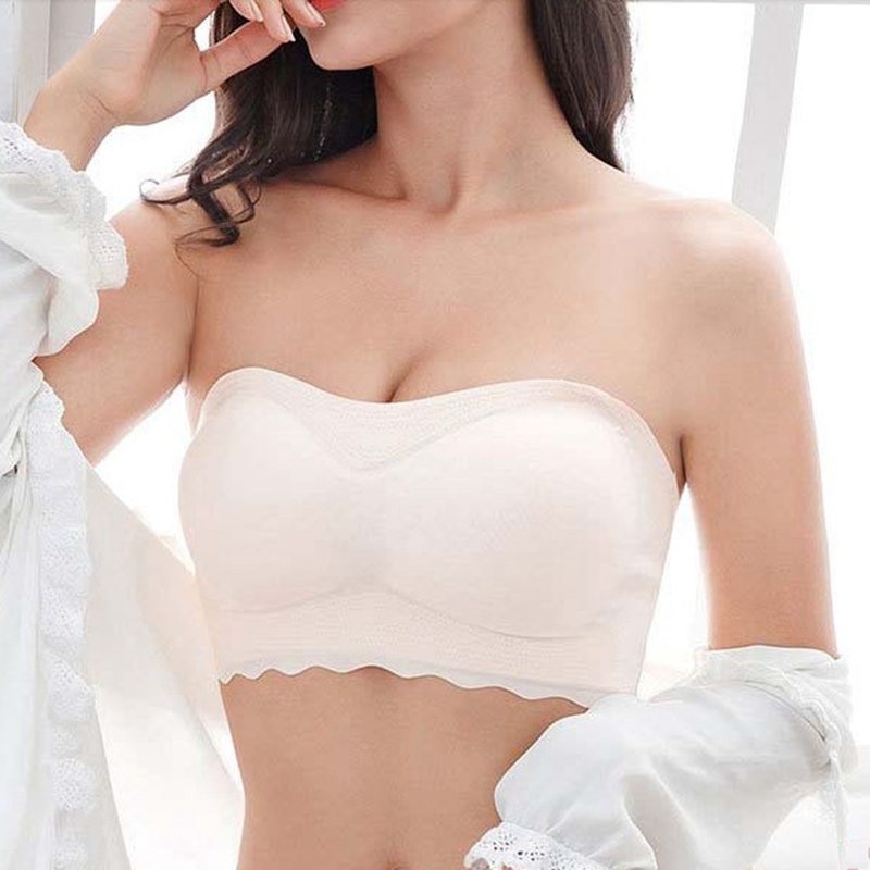 Women Sexy Strapless Bra <font><b>Staniki</b></font> <font><b>Damskie</b></font> Women Underwear Invisible Gathered Bra Push Up Brasier Mujer Bralette Plus Size Bra New image