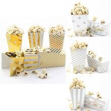 Caixas de popcorn para festas, 6 peças, ouro, prata, pop milho, doces/sanck, rosa, dourado, papel, popcorn, casamento, aniversário, filme talheres de festa,