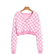 Short Coat Sweaters Cardigan Crop-Tops Plaid Pink Women Knitted Single-Breasted Outwears