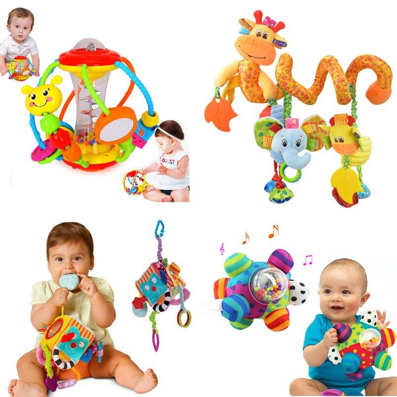 Мягкие детские игрушки от 0 до 12 месяцев, мягкие детские погремушки с животными, игрушки для новорожденных, Висячие погремушки на кроватку, р...