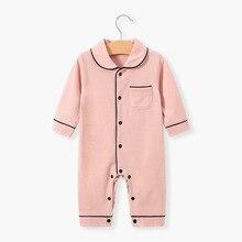 Pajama Sleepwear Nightgown Toddler Baby Jumpsuit Spring Button Lapel Open-One-Piece Autumn