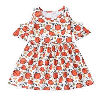 Vestido de manga corta con volantes y hombros descubiertos para fiesta de Halloween, para bebés y niñas de 1 a 6 años