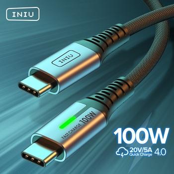 INIU 100W USB C na USB typ C kabel PD 5A szybka ładowarka do telefonu USB-C przewód do Huawei Samsung S20 Xiaomi Macbook iPad Pro tanie i dobre opinie Rohs TYPE-C CN (pochodzenie) Ze wskaźnikiem LED USB C to Type C 100W 60W PD Cable USB C to USB C Cable 0 5m (1 6ft) 1m (3 3ft) 2m (6 6ft)