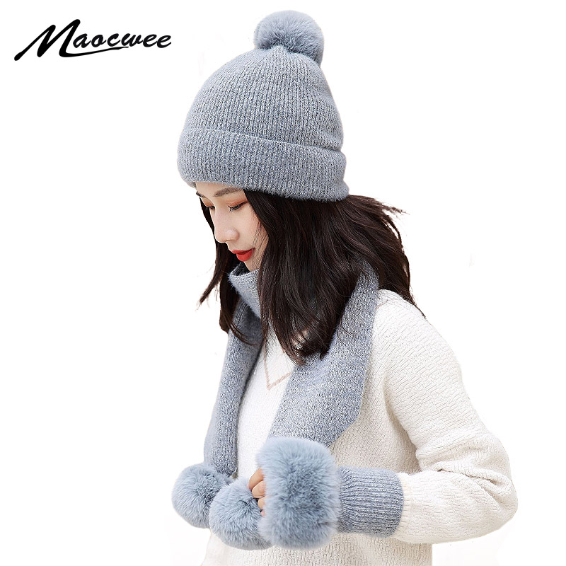Winter Knitted Beanies Hats Women Thick Warm Pompom Skullies Hat Female Knit Letter Bonnet Gloves Caps Outdoor Riding Sets