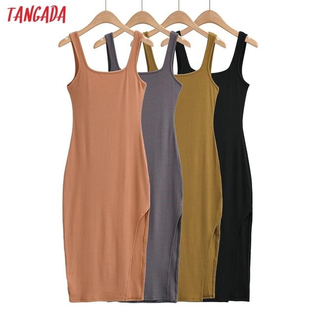 Tangada Women Solid Knit Tank Dress Square Collar Sleeveless 2021 Fashion Lady Sexy Midi Dresses Vestido 4P34 2
