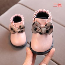 Autumn Winter Girls Bow Tie Short Boots Kids Fashion Shoes Baby Soft Leather Bottom Boots Children Fashion Shoes