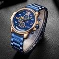MINIFOCUS военные кварцевые часы для мужчин с хронографом и календарем модные синие часы Топ бренд класса люкс со стальным ремешком спортивные ...