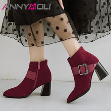 цена на ANNYMOLI Winter Ankle Boots Women Boots Zipper Block High Heel Short Boots Buckle Pointed Toe Shoes Female Autumn Plus Size 4-12