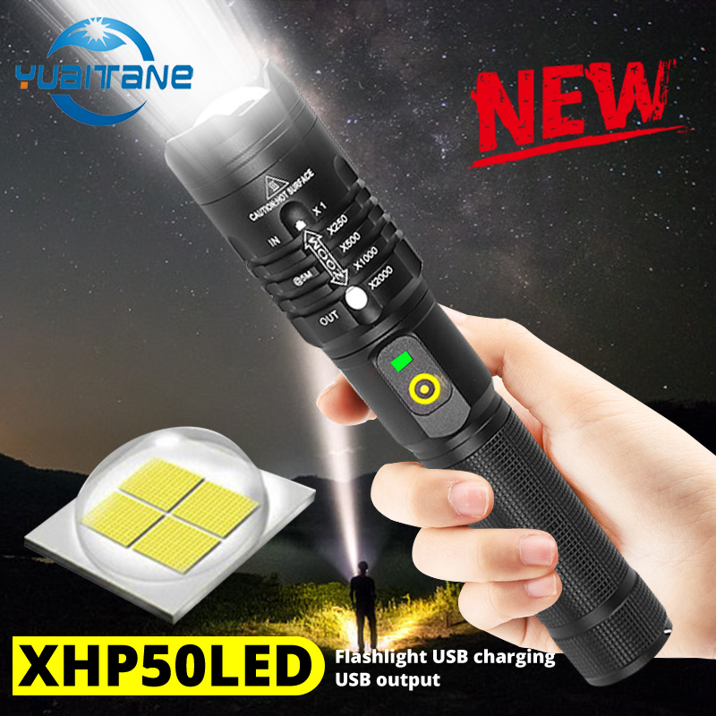 Dropshipping 8000lms Powerful LED Flashlight XHP50.2 Rechargeable Torch USB Zoom Lantern Camping Hunting Lamp Use 18650 Battery
