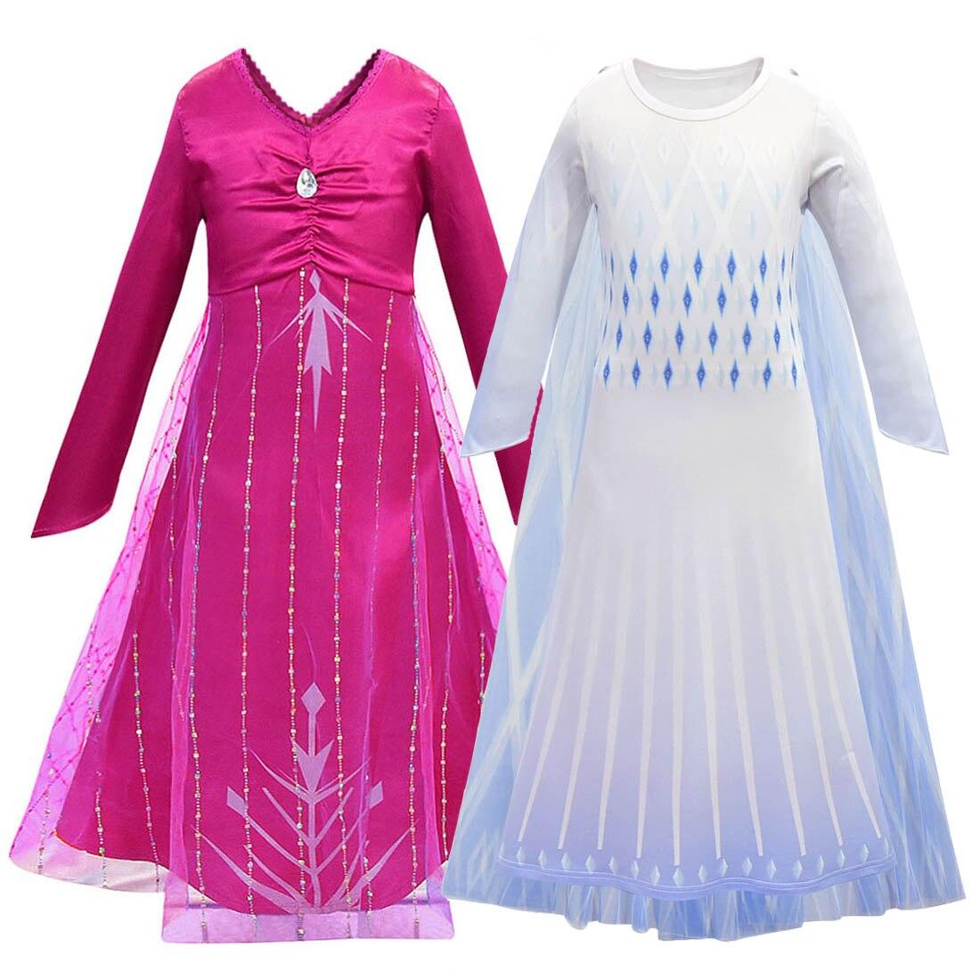 Elsa Cosplay Costume Kids Dresses For Girls Dress Snow Queen Princess Dresses Anna Costumes Party Fantasia Vestidos Clothing