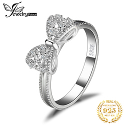 JewelryPalace Bow knot Anniversary Cubic Zirconia Rings 925 Sterling Silver Rings for Women Silver 925 Jewelry Fine Jewelry