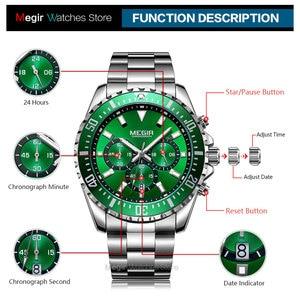 Image 4 - MEGIR Mens Chronograph Quartz Watches Stainless Steel Waterproof Lumious Analogue 24 hour Wristwatch for Man Green Dial 2064G 9