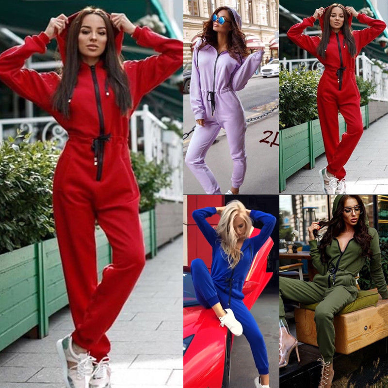 Brand New Casual Women One Piece Outfits Jumpsuit Long Sleeve Bodycon Front Zipper Hooded Long Pants Sexy Rompers Playsuit