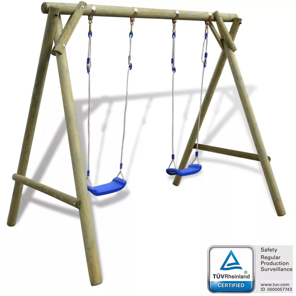 VidaXL Outdoor Patio Swing Set Easy Assembly FSC Pinewood 2 Swings With Adjustable Swing Ropes Outdoor Furniture V2